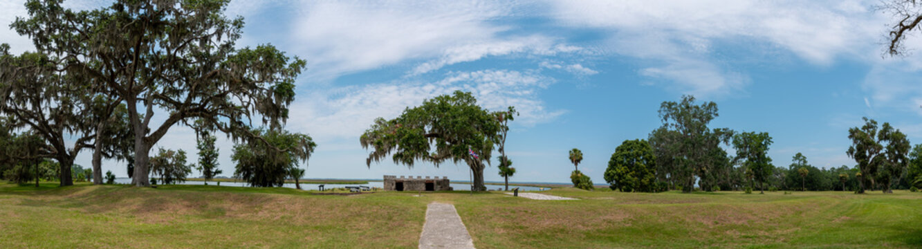 Fort Frederica National Monument, on St. Simons Island, Georgia, archaeological remnants of a fort and town built by James Oglethorpe between 1736 and 1748 to protect the southern boundary from Spain