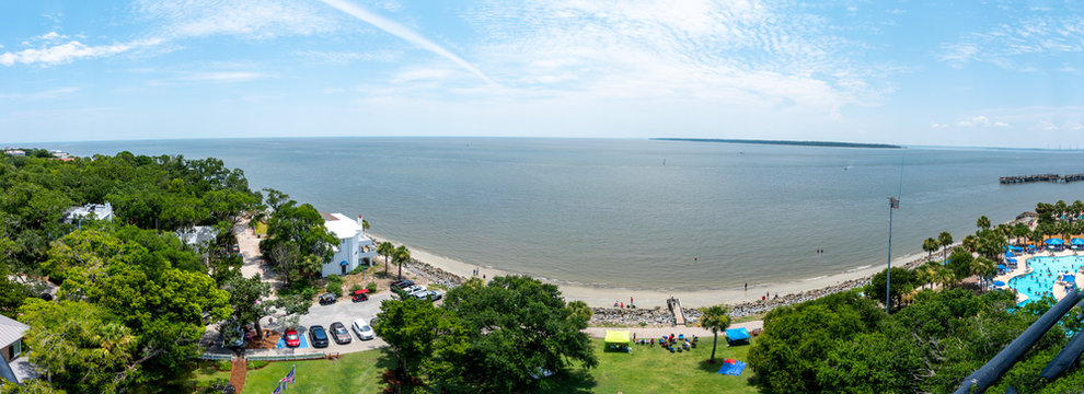 A panoramic view of St Simons Island, Georgia taken from the lighthouse