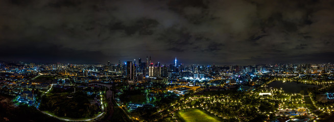 Fotorolgordijn Kuala Lumpur Panorama aerial view in the mid of Kuala Lumpur cityscape skyline .Night scene before sunrise , Malaysia .
