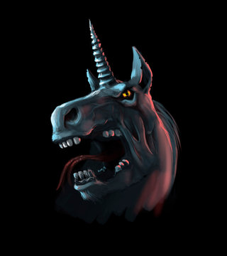 illustration of unicorn from the hell on black background