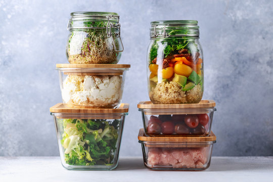 Glass boxes and cans with fresh food refrigerator storage concept decanting