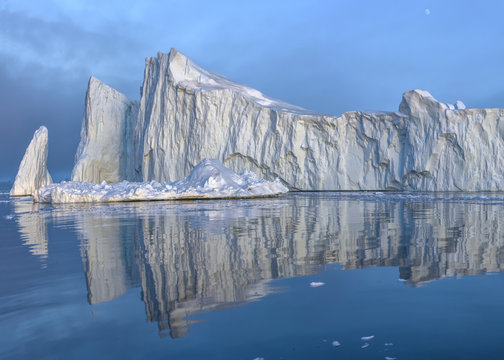 Glaciers on the arctic ocean in Ilulissat, Greenland