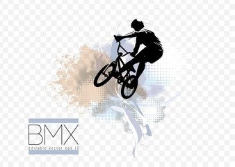 Active man. BMX rider in abstract sport landscape background, vector. Wall mural