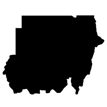 Sudan Map Black Silhouette Vector illustration eps 10