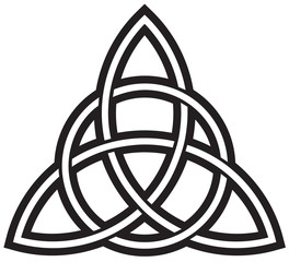 Black Celtic Trinity Knot isolated against white
