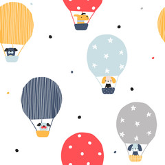 Seamless pattern with animals flying in a hot air balloon. Kids cute print. Vector hand drawn illustration.