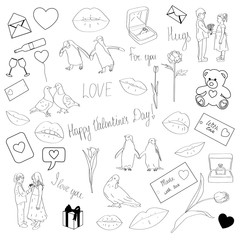 Fotobehang Illustraties Big vector set of Valentine's Day Ink drawing in Doodle style. Isolated object on white background. Decorative element for wallpaper, fabric, business, wrapping paper, holiday, hand draw