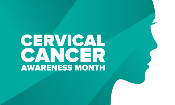Cervical Cancer Awareness Month. Celebrate annual in January. Woman healthcare. Girl solidarity. Cancer prevention. Female disease. Medical healthcare concept. Poster, banner and background. Vector
