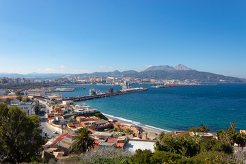 Deurstickers Noord Europa Ceuta and its port one summer afternoon