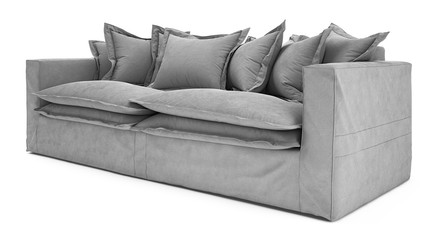 Grey Sofa Isolated on White Background. Fotobehang