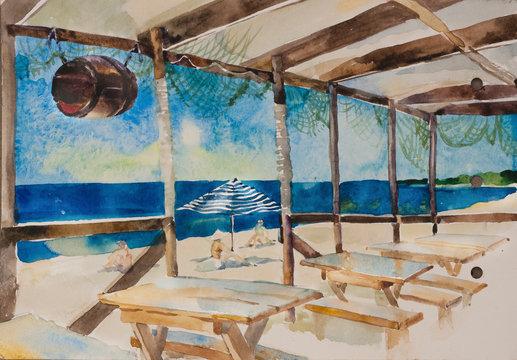 beach bar near the sea watercolor