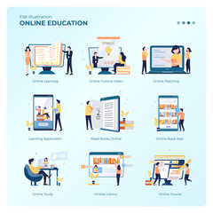 Collection of vector design illustrations with online education concept for e-learning graphic resources