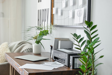 Comfortable workplace in modern room