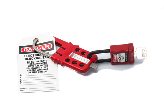 Tag Out Danger Label with Red padlock and Hasp