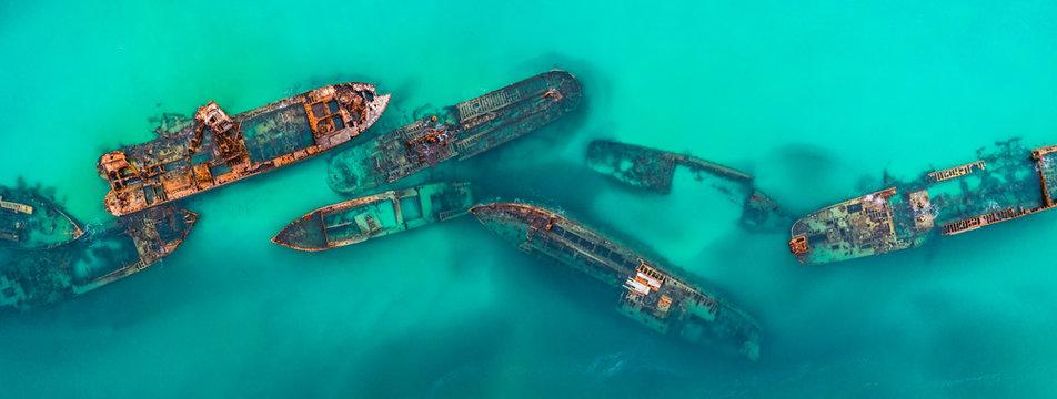 Tangalooma Shipwrecks off Moreton island, Queensland Australia
