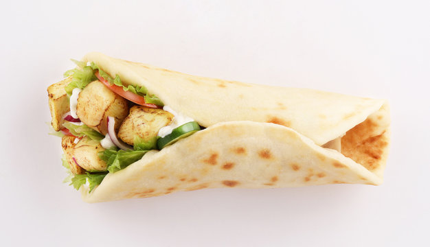 wrap sandwich shish taouk, curry tandoor on white background