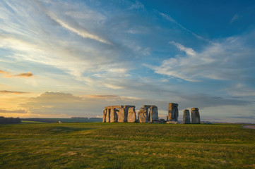 Wide Shot of Stonehenge in Early Morning Light with No People