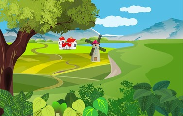 vector illustration of countryside, green hills, riverside, houses, mills, farmland