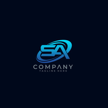 Letter SA Circle Swoosh Logo Design Vector