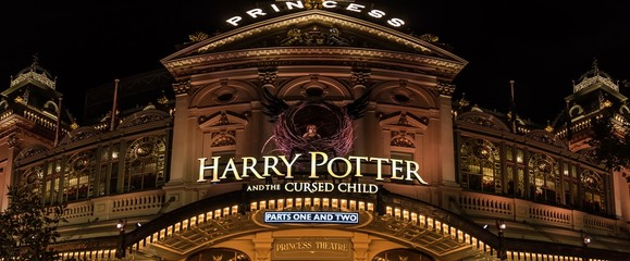 Melbourne, Victoria, Australia, February 9th 2019: The front of the Princess Theatre decorated with the Harry Potter stage show theme at night.