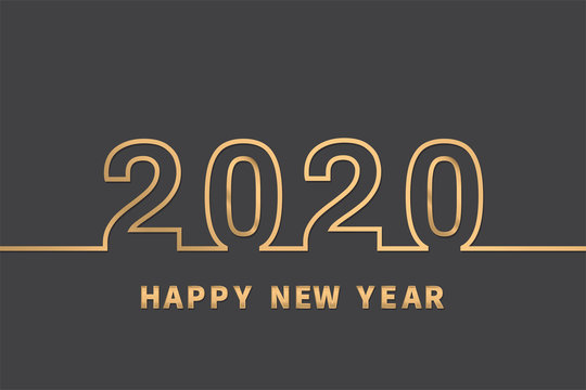 Happy New Year 2020. Gold Text Design. Vector illustration.