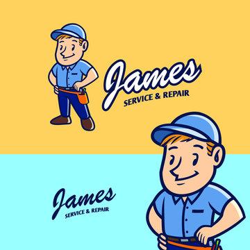 vintage retro mascot of service and repairman