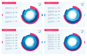 Set of vector infographic circle charts. 4 5 6 7 options