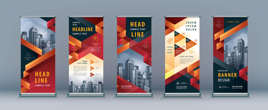 Business Roll Up Set. Standee Design. Banner Template, Abstract Geometric Triangle vector