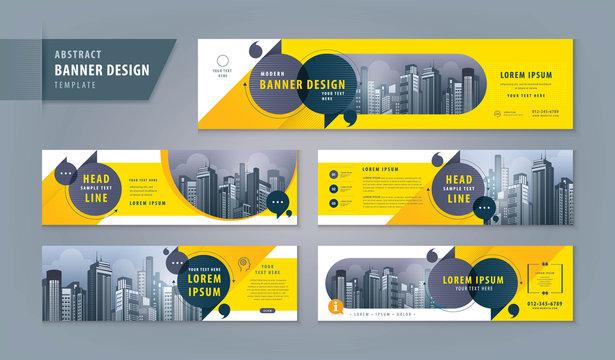 Abstract banner design web template Set, Horizontal header web banner. Modern cover header