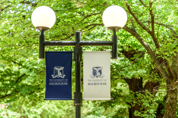 Melbourne, Victoria, Australia, January 12th, 2019: A dual headed lamp post with banners for 'The University Of Melbourne'