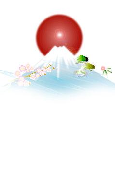 富士山と松竹梅のイラスト年賀状テンプレート素材