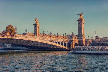 Wall Mural - Alexandre III bridge in Paris at sunset