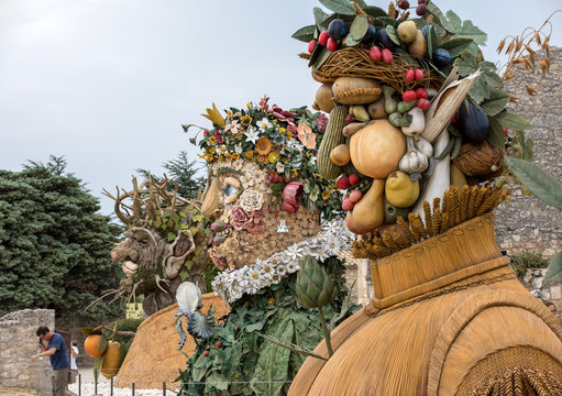 Les Baux Pronence, France - The artworks Four Seasons are three-dimensional interpretations created by Philip Haas and inspired by a set of paintings with the same titles by Arcimboldo