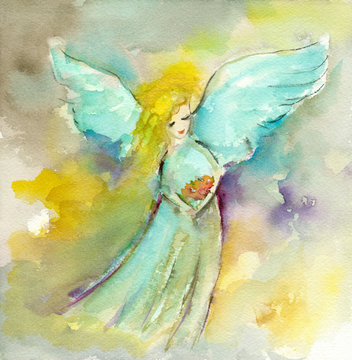 Christmas New year fairy angel watercolor painting hand drawn on paper element or clip art for card or your design