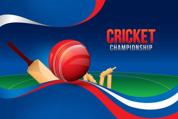 Vector of cricket championship design with field background.
