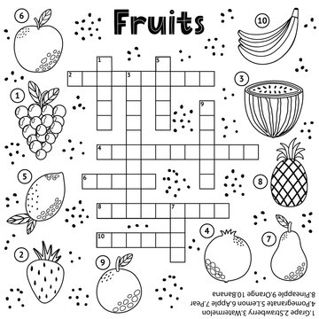 Black and white crossword puzzle game with fruits for kids