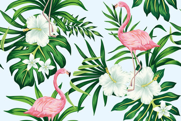 Tropical white hibiscus plumeria floral green leaves seamless pattern pink flamingo blue background. Exotic jungle wallpaper.