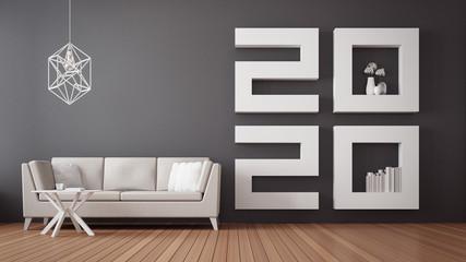 2020 Happy new year Living room interior / 3D rendering interior