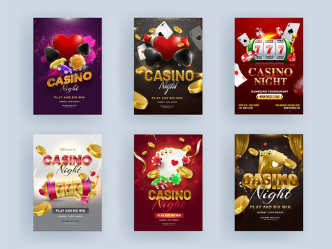 Casino Night Party Flyer Design with 3D Slot Machine, Playing Cards, Golden Coin and Poker Chip on Different Color Background.