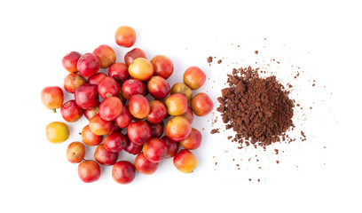 Red coffee beans and instant coffee isolated on white background