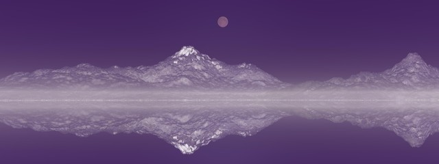 Türaufkleber Aubergine lila beautiful view of a mountain mirrored on a lake - 3d rendering