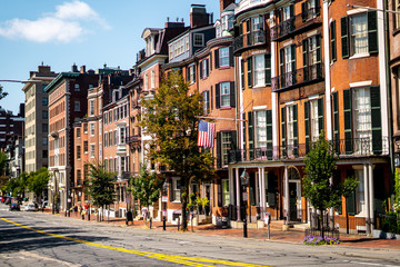 The classical and victorian buildings in the heart of Boston , Massachusetts , United States of America Wall mural