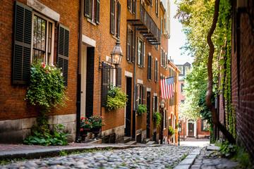 Acorn street around Beacon hill , one of the beautiful street in Boston  , Massachusetts