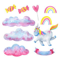 White unicorn, pink clouds, rainbow, candy, set of cute illustrations. Watercolor fairy tale elements isolated on white background