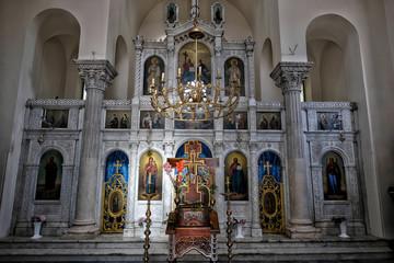 Interior of Archangel Michale orthodox church on the Old Town in Herceg Novi, Montenegro.