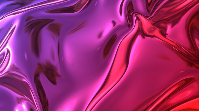 3D render beautiful folds of foil with gradient iridescent blue red color in full screen, as clean fabric abstract background. Simple soft material with crease like waves on liquid surface. 53