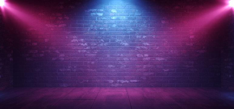 Neon Retro Brick Walls Club Mist Dark Foggy Empty Hallway Corridor Room Garage Studio Dance Glowing Blue Purple Spot Lights Concrete Floor 3D Rendering