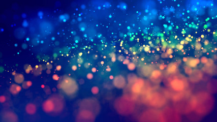 cloud of multicolored particles fly in air slowly or float in liquid like sparkles on dark blue background. Beautiful bokeh light effects with glowing particles. 32