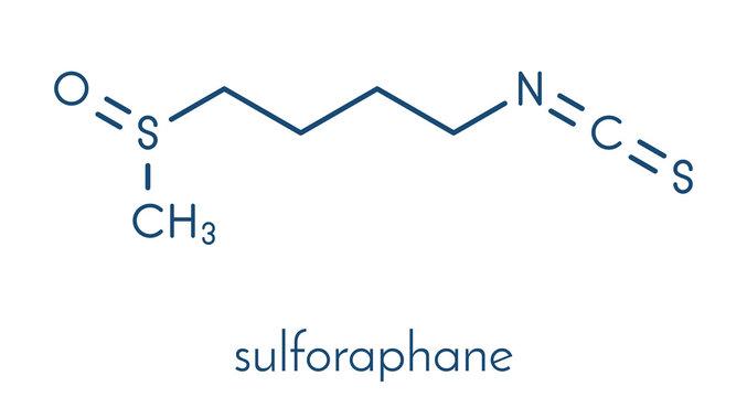Sulforaphane cruciferous vegetable molecule. Skeletal formula.