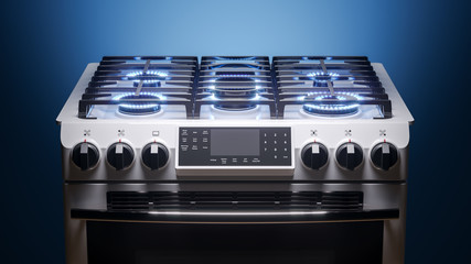 Kitchen household gas stove with lit cooking rings on a dark background. 3D